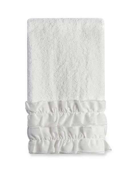 Creative Bath Ruffles White Finger Tip Towel 11-in.