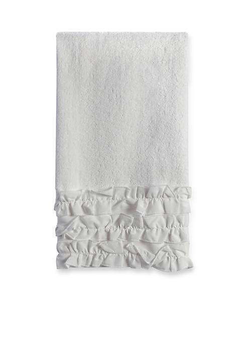 Creative Bath Ruffles White Hand Towel 16-in. x