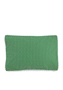 Laurel Falls Green Swiss Dot Decorative Pillow