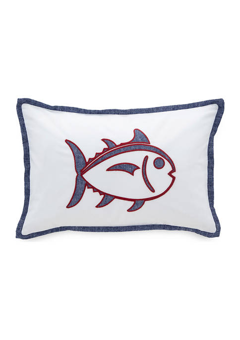 Folly Beach Skipjack 12 in W x 18 in L Decorative Pillow