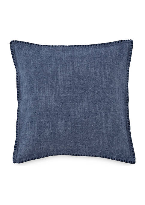 Amy Sia Folly Beach Chambray Whipstitch Decorative Pillow