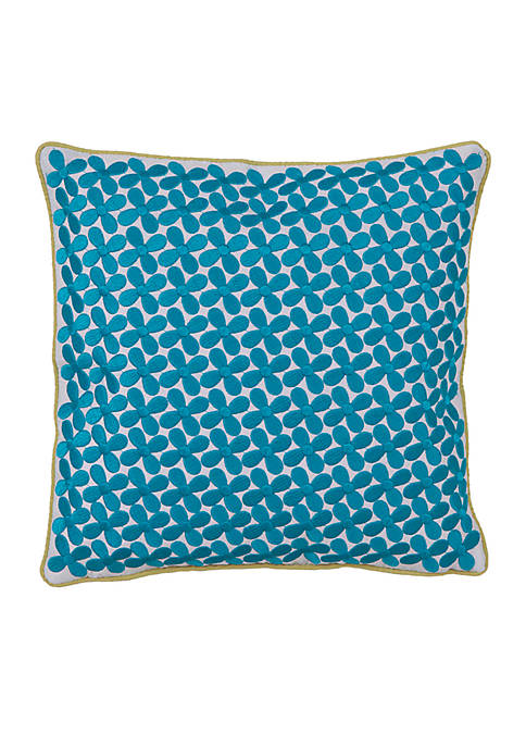 Collier Campbell Grandiflora Blue Floral Decorative Pillow 12-in.