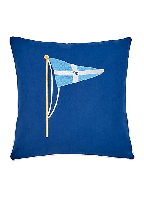 Yacht Club Embroidered Pennant Decorative Pillow