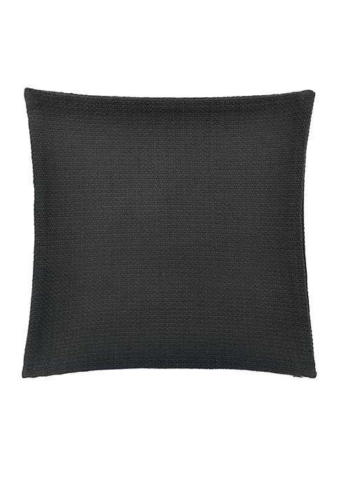 Textured Charcoal Basketweave Throw Pillow