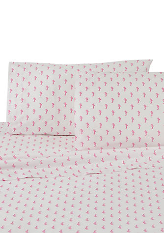Southern Tide Seahorses Pink and White King Pillowcase Pair New in Package