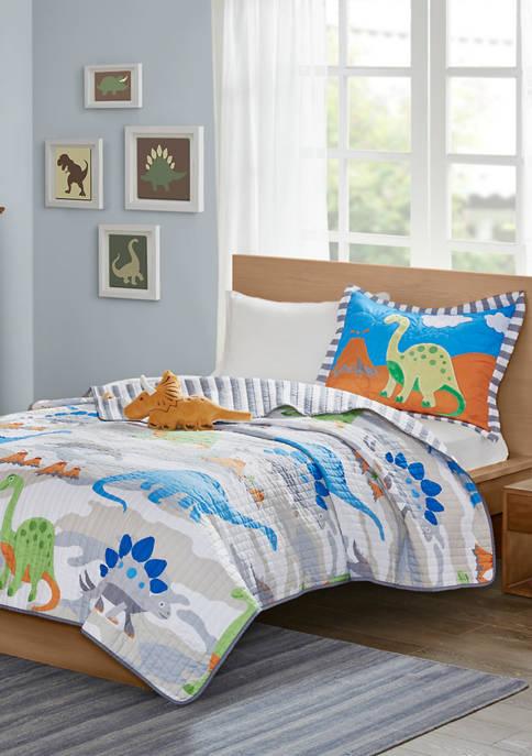 JLA Home Little Foot Dinosaur Reversible Coverlet Set