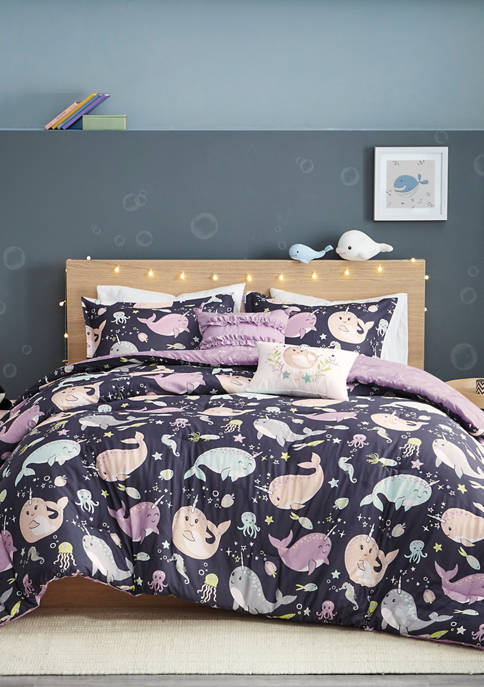 JLA Home Magical Narwhals Reversible Comforter Set