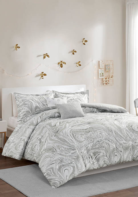 Intelligent Design Rebecca Metallic Printed Comforter Set