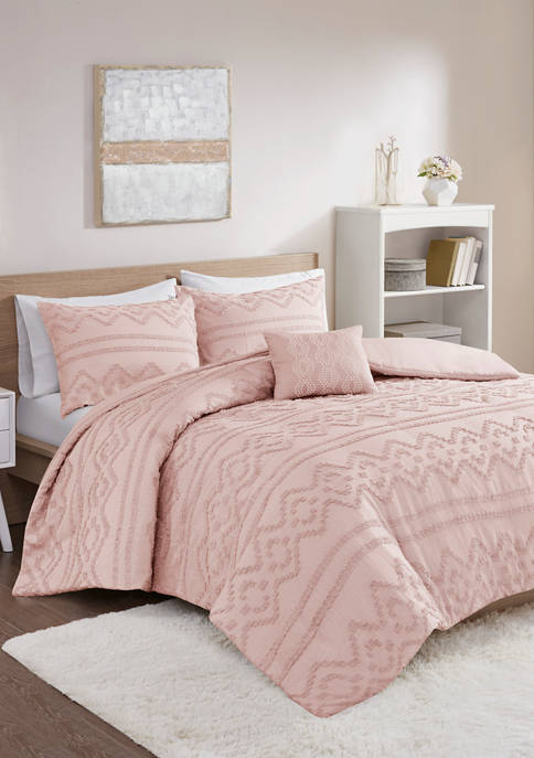 Intelligent Design Annie Solid Clipped Jacquard Duvet Cover