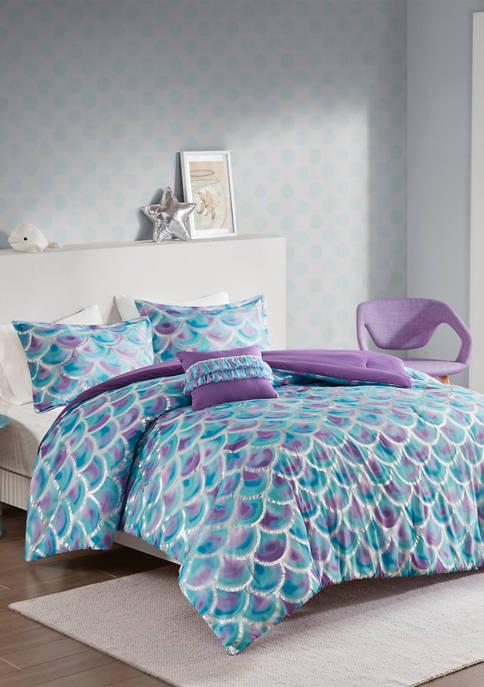 Mi Zone Pearl Metallic Printed Reversible Comforter Set