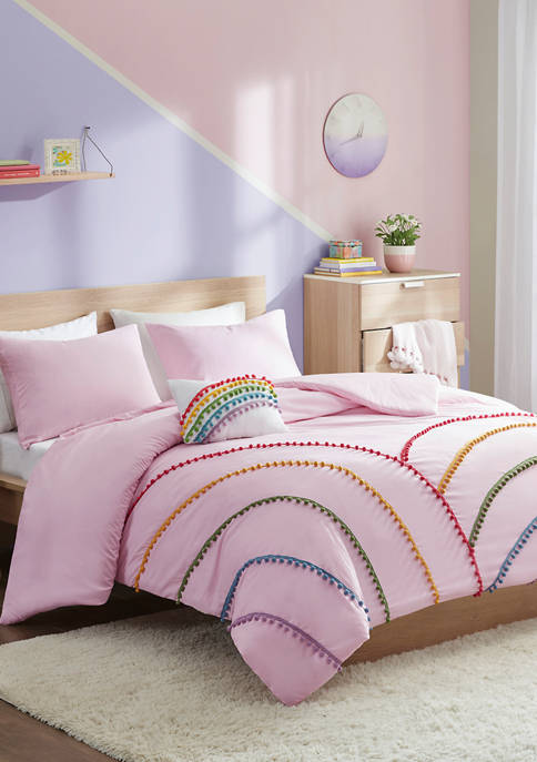 Juniper Rainbow Comforter Set With Pompom Trim