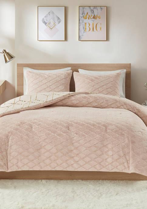 Ainsley Metallic Print Reversible Comforter Set