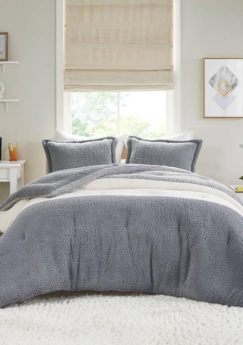 Intelligent Design Arlow Color Block Overfilled Sherpa Comforter