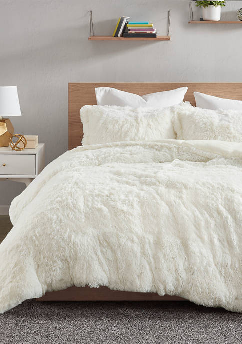 Intelligent Design Malea Shaggy Fur Duvet Cover Set