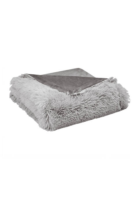CosmoLiving Cleo Ombré Print Shaggy Fur Throw