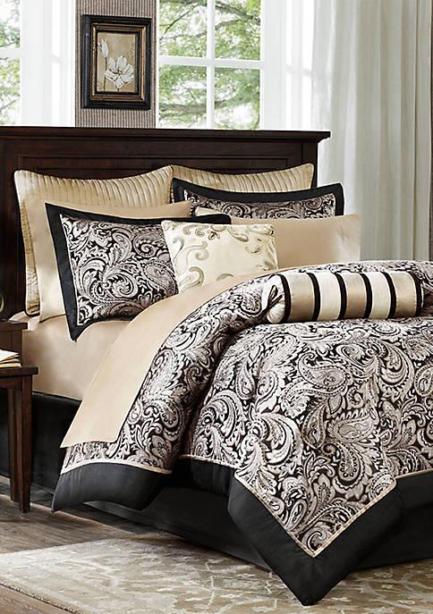 Aubrey 12-Piece Complete Bed Set- Black