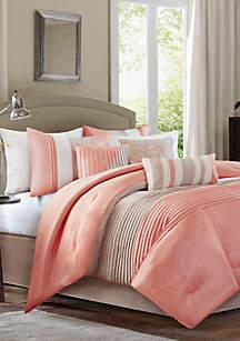 Amherst\t7 Piece Comforter Set- Coral