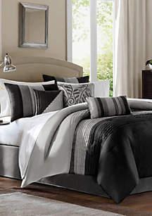 Amherst\t7 Piece Comforter Set- Black