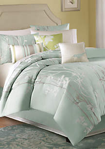 Athena Green 7-Piece California King Comforter Set 104-in. x 92-in.