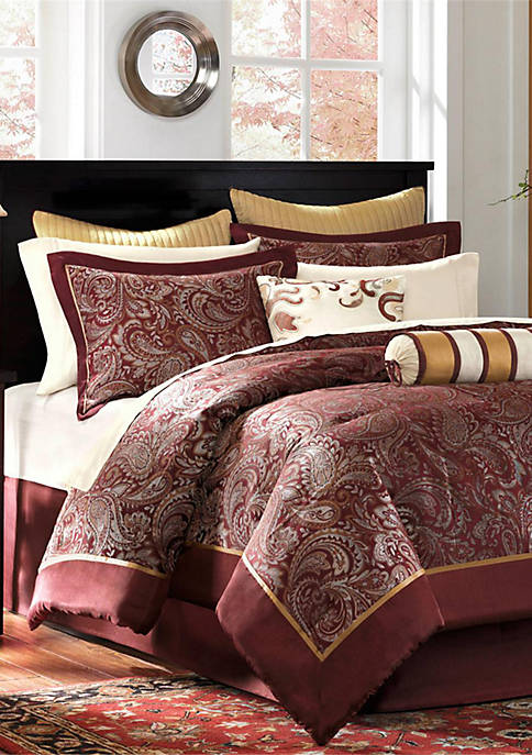 Aubrey Burgundy 12-Piece California King Comforter Set 104-in.