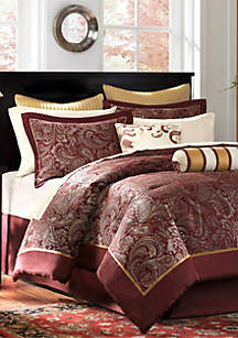 Aubrey Burgundy 12-Piece California King Comforter Set 104-in. x 92-in.