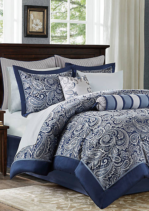 Aubrey 12-Piece Complete Bed Set- Navy