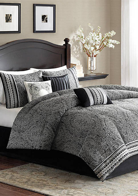 Madison Park Barton 7-Piece Comforter Set- Black
