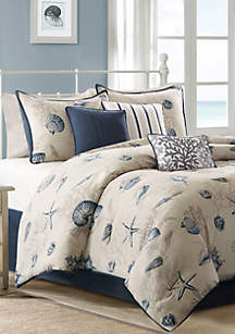 Madison Park Bayside Blue 7-Piece California King Comforter Set 104-in. x 92-in.