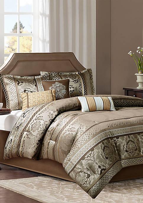 Madison Park Bellagio 7-Piece Jacquard Comforter Set- Brown