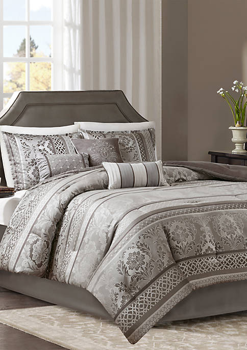 Madison Park Bellagio 7-Piece Jacquard Comforter Set- Gray
