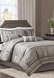 Madison Park Bellagio 7-Piece Jacquard Comforter Set- Gray