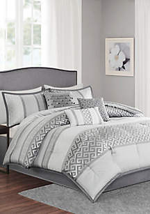 Madison Park Bennett 7-Piece Comforter Set- Gray
