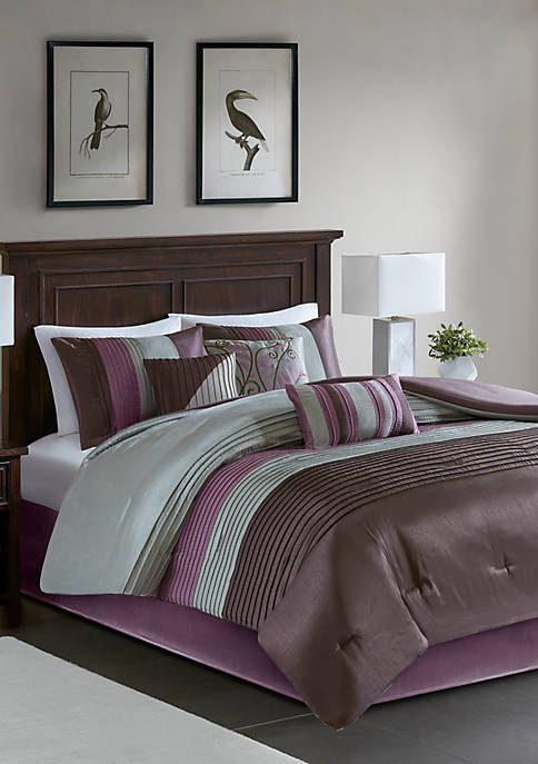 Amherst 7-Piece Comforter Set- Purple