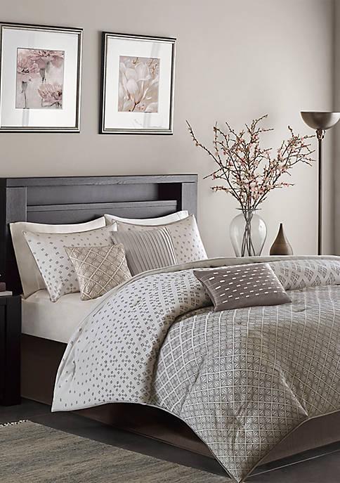 Madison Park Biloxi 7-Piece Comforter Set- Silver