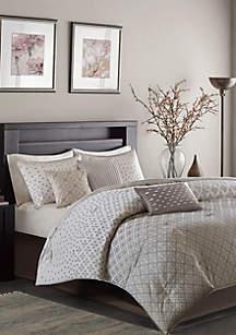 Biloxi 7-Piece Comforter Set- Silver