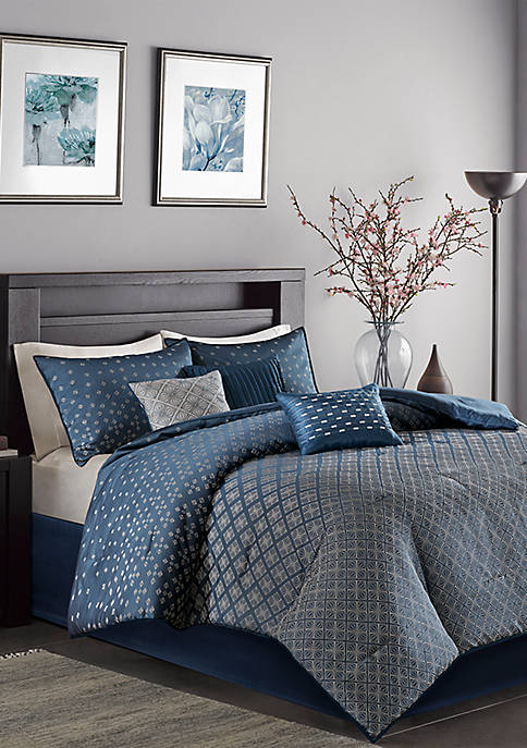 Madison Park Biloxi 7 Piece Comforter Set- Navy