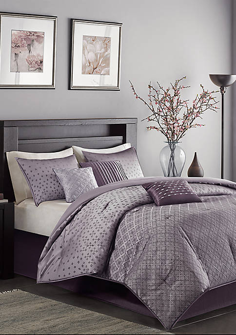Madison Park Biloxi 7-Piece Comforter Set- Purple