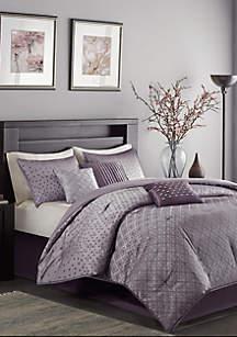 Biloxi 7-Piece Comforter Set- Purple