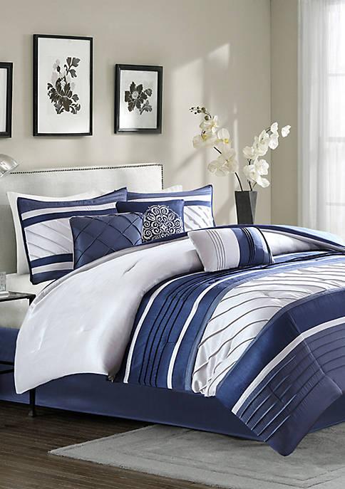 Madison Park Blaire 7-Piece Comforter Set-Navy