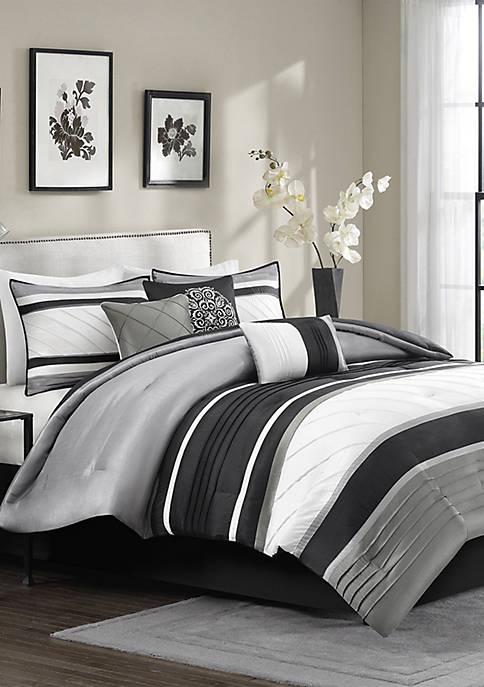 Madison Park Blaire 7-Piece Comforter Set- Grey