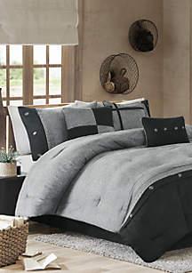 Boone 7-Piece Comforter Set- Grey