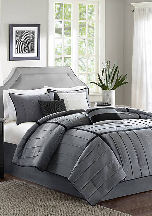 Madison Park Bridgeport 7-Piece Comforter Set-Gray