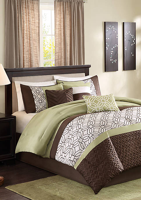 Madison Park Briggs 7-Piece Comforter Set- Green