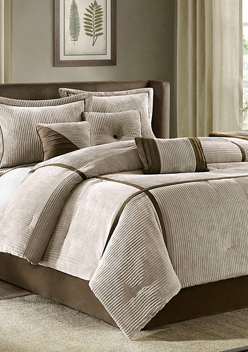 Madison Park Dallas Tan Queen 7-Piece Comforter Set