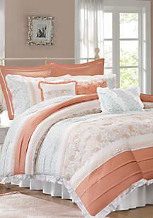 Dawn Cotton Percale Comforter Set Coral