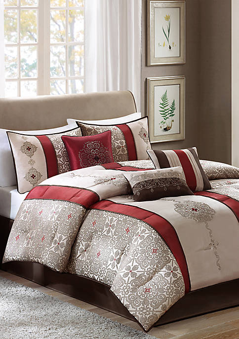 Madison Park Donovan Jacquard Comforter Set Red
