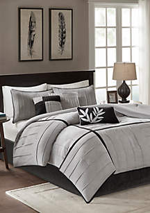 Madison Park Connell Gray 7-Piece Queen Comforter Set 90-in. x 90-in.