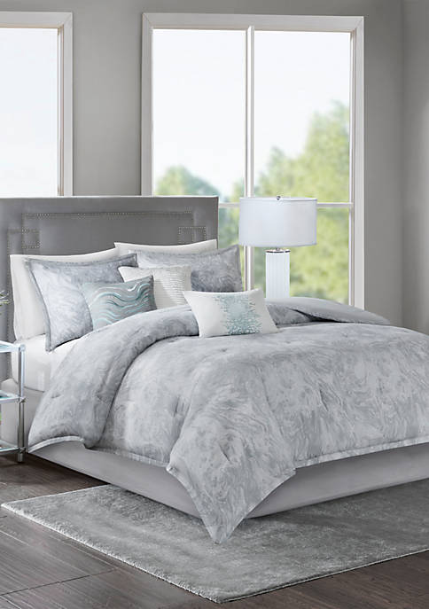 Madison Park Emory Cotton Sateen Comforter Set Grey