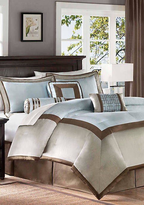 Madison Park Genevieve Blue 7-Piece Queen Comforter Set