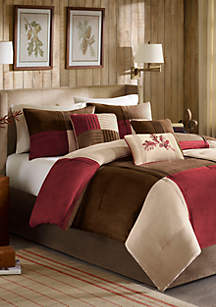 Jackson Blocks Red 7-Piece Queen Comforter Set 90-in. x 90-in.